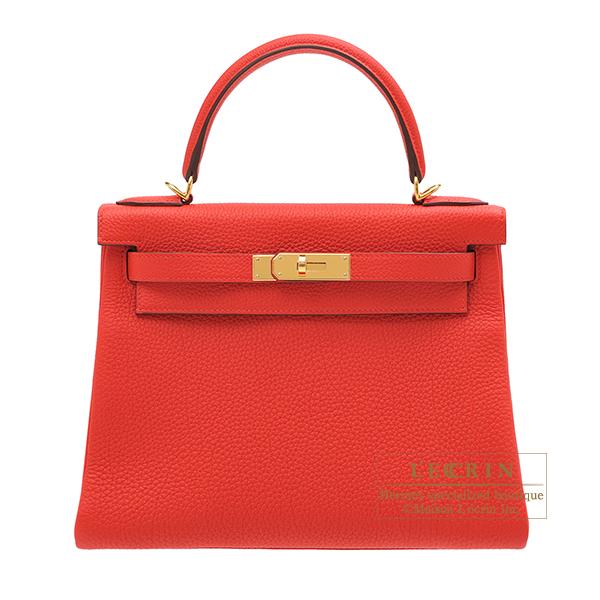 エルメス ケリー28/内縫い ルージュクー トゴ ゴールド金具 HERMES Kelly bag 28 Retourne Rouge coeur Togo leather Gold hardware