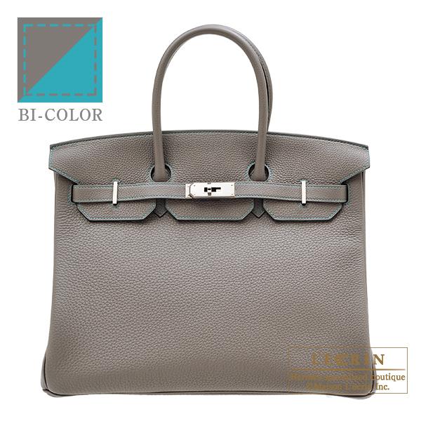 エルメス パーソナルバーキン35 エタン/ブルーパオン トゴ シルバー金具 HERMES Personal Birkin bag 35 Etain/Blue paon Togo leather Silver hardware