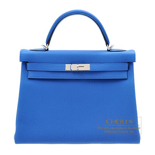 エルメス ケリー32/内縫い ブルーゼリージュ トゴ シルバー金具 HERMES Kelly bag 32 Retourne Blue zellige Togo leather Silver hardware