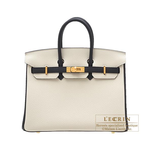 エルメス パーソナルバーキン25 クレ/ブラック トゴ マットゴールド金具 HERMES Personal Birkin bag 25 Craie/Black Togo leather Matt gold hardware