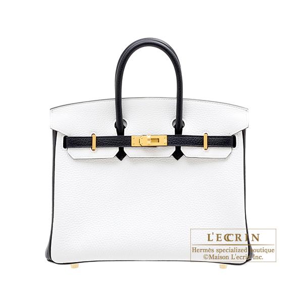 エルメス パーソナルバーキン25 ホワイト/ブラック トリヨンクレマンス マットゴールド金具 HERMES Personal Birkin bag 25 White/Black Clemence leather Matt gold hardware