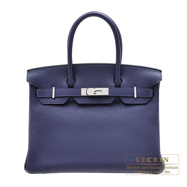 エルメス バーキン30 ブルーアンクル トリヨンクレマンス シルバー金具 HERMES Birkin bag 30 Blue encre Clemence leather Silver hardware
