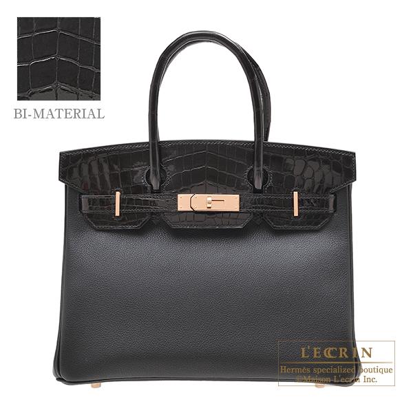 エルメス バーキンタッチ30 ブラック トリヨンノビーヨ/クロコダイル ニロティカス ローズゴールド金具 HERMES Birkin Touch bag 30 Black Novillo leather/Niloticus crocodile skin Rose gold hardware