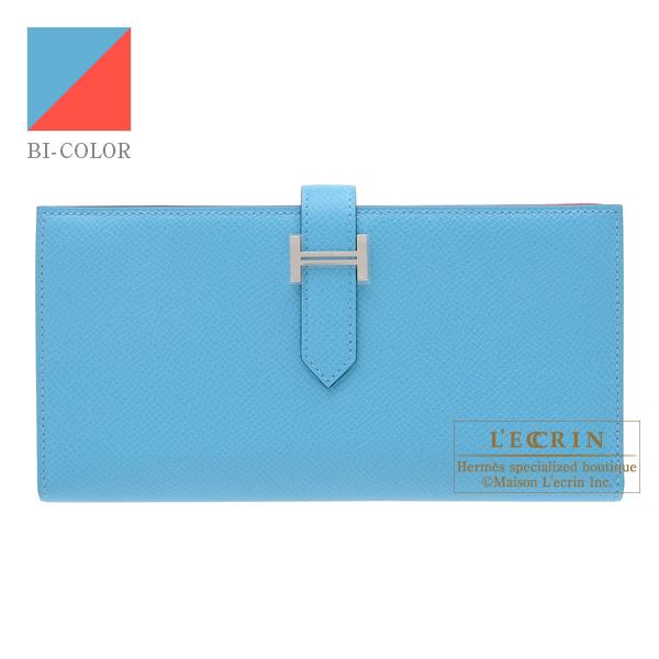 エルメス ベアンスフレヴェルソ ブルーノール/ルージュクー ヴォーエプソン シルバー金具 HERMES Bearn Soufflet Verso Blue du nord/Rouge coeur Epsom leather Silver hardware