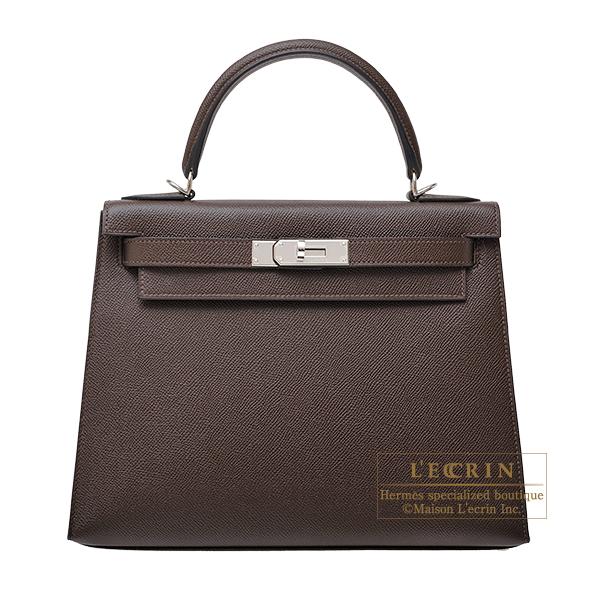 エルメス ケリー28/外縫い ショコラ ヴォーエプソン シルバー金具 HERMES Kelly bag 28 Sellier Chocolat Epsom leather Silver hardware