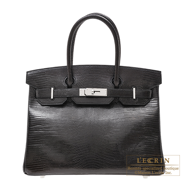 エルメス バーキン30 ブラック リザード シルバー金具 HERMES Birkin bag 30 Black Lizard skin Silver hardware