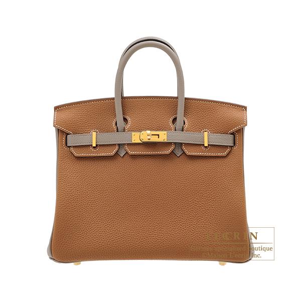 エルメス パーソナルバーキン25 ゴールド/グリアスファルト トゴ ゴールド金具 HERMES Personal Birkin bag 25 Gold/Gris asphalt Togo leather Gold hardware