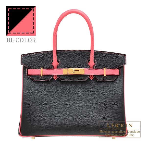 エルメス パーソナルバーキン30 ブラック/ローズアザレ ヴォーエプソン ゴールド金具HERMES Personal Birkin bag 30 Black/Rose azalee Epsom leather Gold hardware