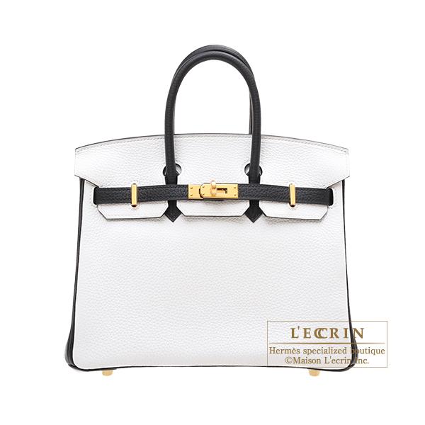 エルメス パーソナルバーキン25 ホワイト/ブラック トリヨンクレマンス ゴールド金具 HERMES Personal Birkin bag 25 White/Black Clemence leather Gold hardware