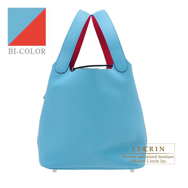 エルメス ピコタンロックエクラMM ブルーノール/ルージュクー トリヨンクレマンス/スイフト シルバー金具 HERMES Picotin Lock Eclat bag MM Blue du nord/Rouge coeur Clemence leather/Swift leather Silver hardware