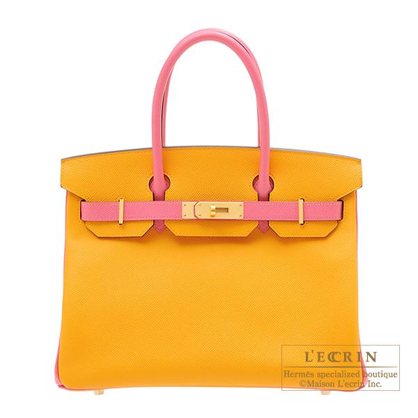 エルメス パーソナルバーキン30 ジョーヌドール/ローズアザレ ヴォーエプソン マットゴールド金具 HERMES Personal Birkin bag 30 Jaune d'or/Rose azalee Epsom leather Matt gold hardware