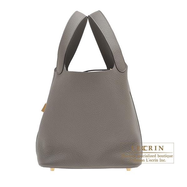 エルメス ピコタンロックMM エタン トリヨンクレマンス ゴールド金具 HERMES Picotin Lock bag MM Etain Clemence leather Gold hardware