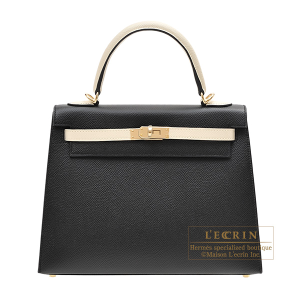 エルメス パーソナルケリー25/外縫い ブラック/クレ ヴォーエプソン シャンパンゴールド金具 HERMES Personal Kelly bag 25 Sellier Black/Craie Epsom leather Champagne gold hardware