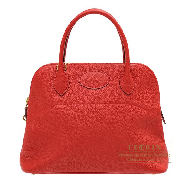 エルメス ボリード31 ルージュカザック トリヨンクレマンス ゴールド金具 HERMES Bolide bag 31 Rouge casaque Clemence leather Gold hardware