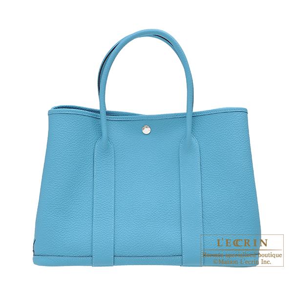 エルメス ガーデンパーティPM ブルーノール カントリー シルバー金具 HERMES Garden Party bag PM Blue du nord Country leather Silver hardware