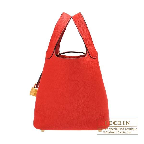 エルメス ピコタンロックPM ルージュクー トリヨンクレマンス ゴールド金具 HERMES Picotin Lock bag PM Rouge coeur Clemence leather Gold hardware