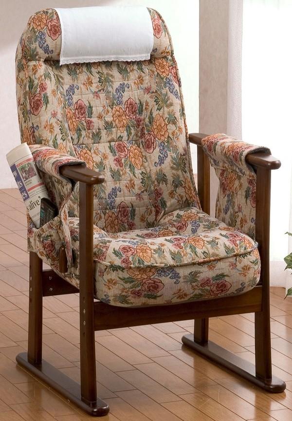 木製肘付レバー式リクライニング高座椅子 SA881 送料無料