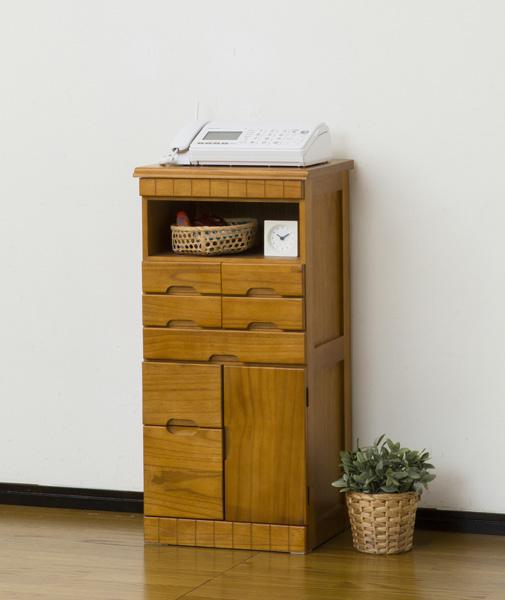 ファックス台 電話台 FAX台 完成品 ハイタイプ 幅38cm TEL台 引出し 引出しいっぱい ナチュラル チェスト キャビネット プリンター台
