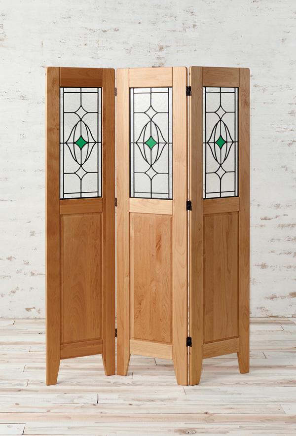 3連 衝立 木製 天然木 アルダー材 オイル仕上げ