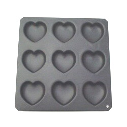 サイズ 約 :62×62mm ブラック シリコン加工 ハート マフィン 型 天板 不要 タイガークラウン 9個付 CAKELAND 安心と信頼 ケーキランド バレンタイン [再販ご予約限定送料無料] 5044 ケーキ型 空焼き