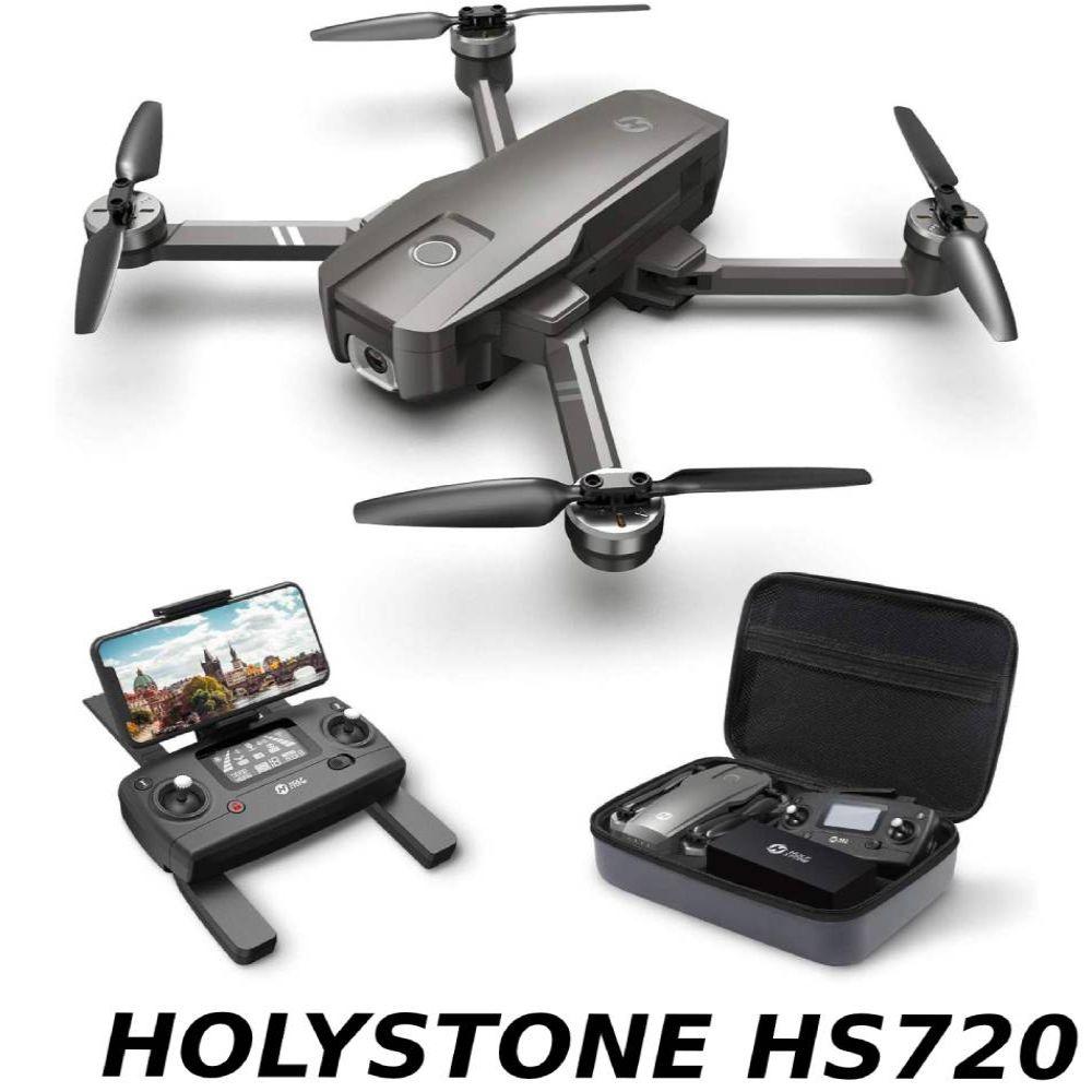 Holy Stone HS720 ドローン GPS搭載 折り畳み 4K広角カメラ付き フライト時間26分 ブラシレスモーター 収納ケース付き オートリターンモード フォローミーモード オプティカルフロー 高度維持 ヘッドレスモード 2.4GHz モード1/2自由転換 国内認証済み