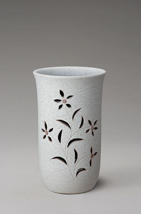 信楽焼 傘 立て 花彫り 傘立て 陶器 おしゃれ 日本製 国産 結婚祝い 新築祝い アンブレラスタンド