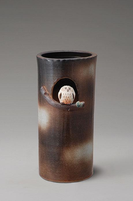 信楽焼 傘 立て まんまるふくろう 傘立て 陶器 おしゃれ 日本製 国産 結婚祝い 新築祝い アンブレラスタンド