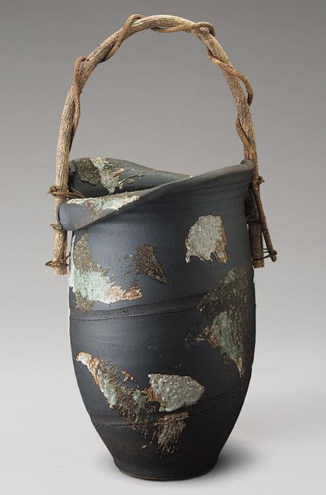 信楽焼 傘 立て 三彩刷毛目つる付 傘立て 陶器 おしゃれ 日本製 国産 結婚祝い 新築祝い アンブレラスタンド