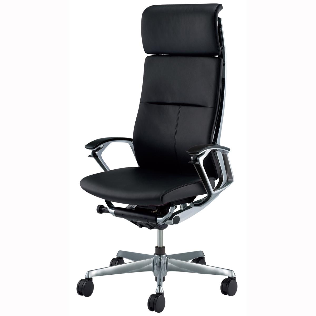 オカムラ オフィスチェア デューク エクストラハイバック ポリッシュフレーム 本革 ブラック CZ87ZX-P676