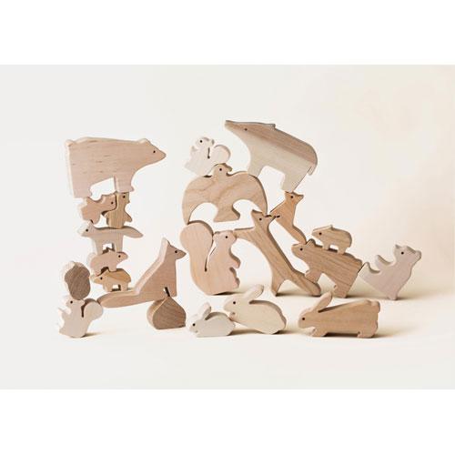 オークヴィレッジ 森のどうぶつみき 国産材使用で無塗装、安心安全の木のおもちゃ 木目 無塗装 計19ピース 02140-00