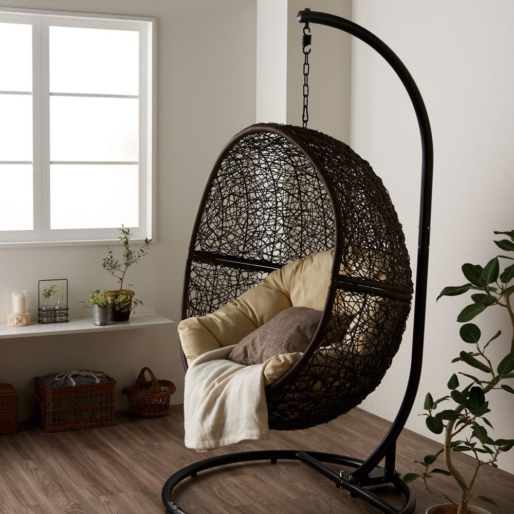 ハンギングチェア ワイド C500PBRW 籐製 アジアン かわいい 卵型 エッグ型 たまご型 ゆらゆら椅子 吊り椅子 吊るし椅子