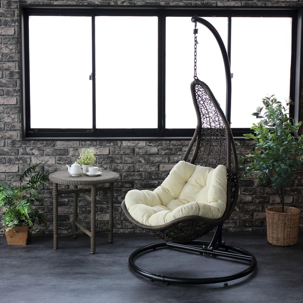 ハンギングチェア ティアー C501PBRW 籐製 アジアン かわいい 卵型 エッグ型 たまご型 ゆらゆら椅子 吊り椅子 吊るし椅子 新生活