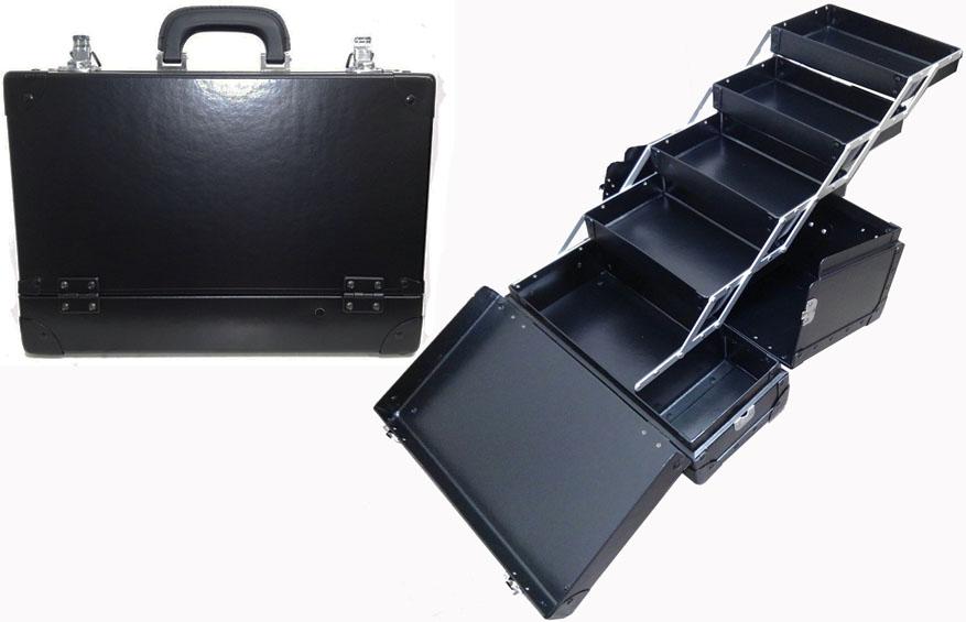 瓶立て付 スライド4段トレー メイクボックス 黒 《送料無料》日本製プロ仕様 コスメボックス コスメケース 化粧道具入れ 最終でのこった数台の在庫品。少し擦れ等ありますが新品できれいです