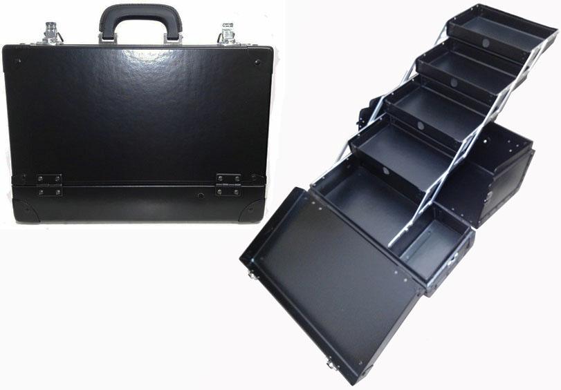 【完売ありがとうございました】瓶立て付 スライド引出し4段トレー メイクボックス 黒 軽量化デザイン《送料無料》日本製プロ仕様 コスメボックス コスメケース 化粧道具入れ 最終でのこった数台の在庫品。少し擦れ等ありますが、新品未使用です