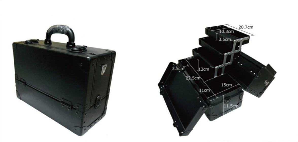スライド3段トレー 瓶立スペース有り メイクボックス TM型 黒 ブラック《送料無料》手前にメイクパレットや冊子類を立てて入れるスペースもプロ仕様 コスメケース 化粧道具入れ