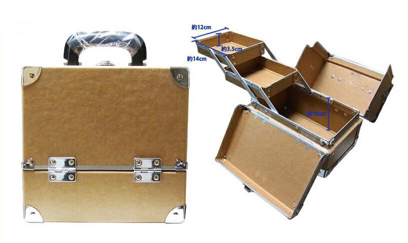 スライド2段トレー 瓶立てスペース有り カラー メイクボックス 茶 クラフト《送料無料》仕切りもないフリースペースの多い化粧箱 プロ仕様 コスメボックス コスメケース 化粧道具入れ