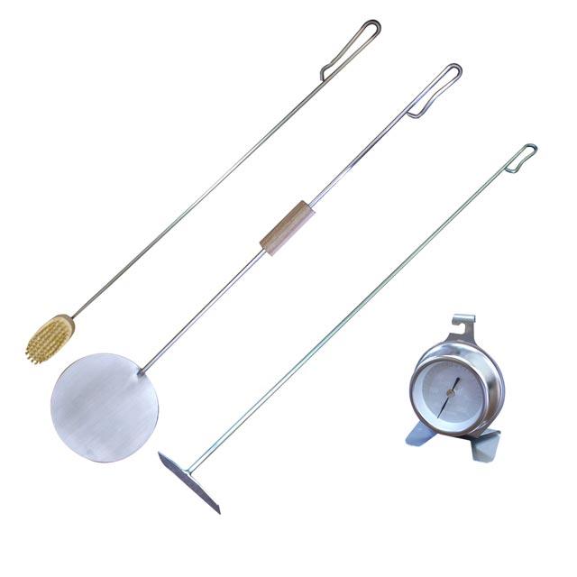 石窯ツール4点セット(回転パーラ、灰かき棒、石窯ブラシ、温度計)