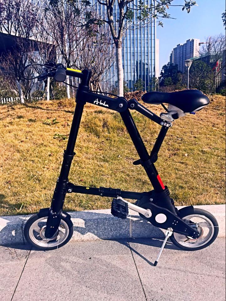 Bicycle A型bike 折りたたみ自転車 スポーツ アウトドア 駅通い ピクニック 遠足 収納袋付き タイヤの空気入れ道具付き 超軽量 超小型10ABike-Black