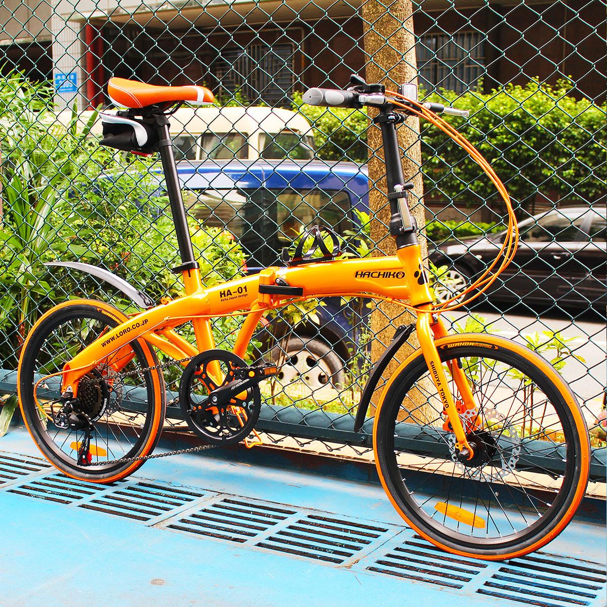 送料税込み!ハチコ HACHIKO 20インチ ジュラルミン 折り畳み自転車 SHIMANOシマノ7段 変速[98%完成品] 泥よけ付きプレゼントがあり!オレンジ(HA01_Orange)