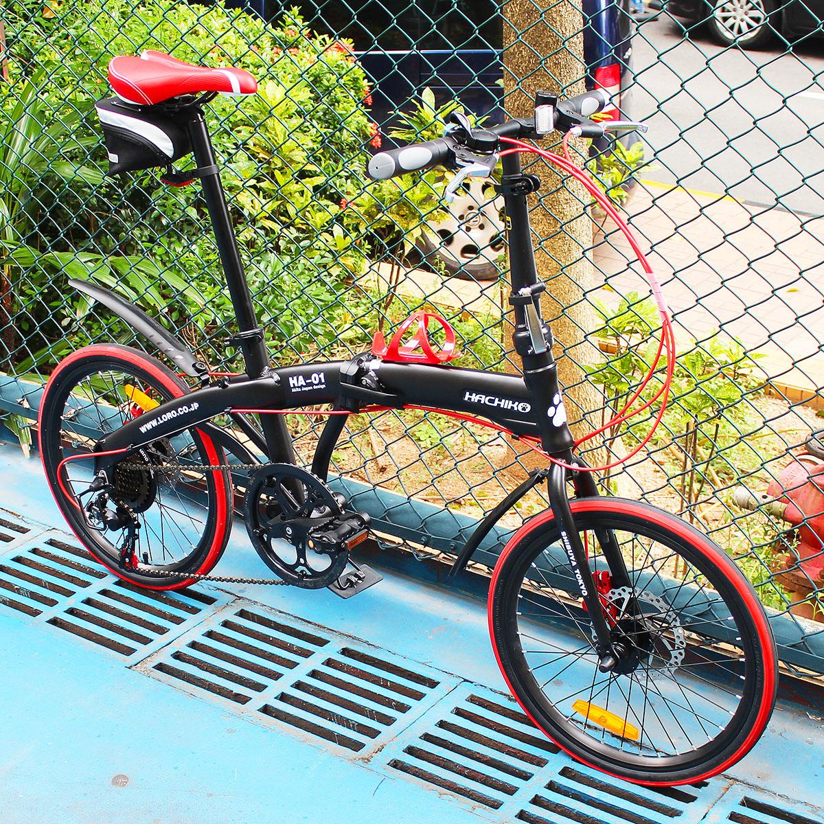 送料税込み!ハチコ HACHIKO 20インチ ジュラルミン 折り畳み自転車 SHIMANOシマノ7段 変速[98%完成品] 泥よけ付きプレゼントがあり!黒(HA01_Black)