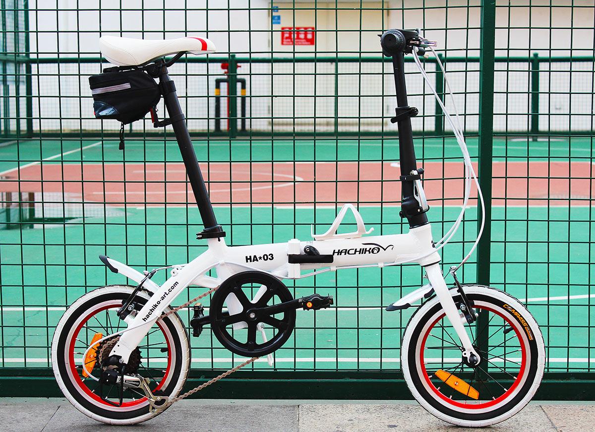 ハチコHACHIKOジュラルミン折りたたみ自転車SHIMANOシマノ6段変速14インチ[98%完成品] 泥よけ付きプレゼントがあり!白(HA03_White)
