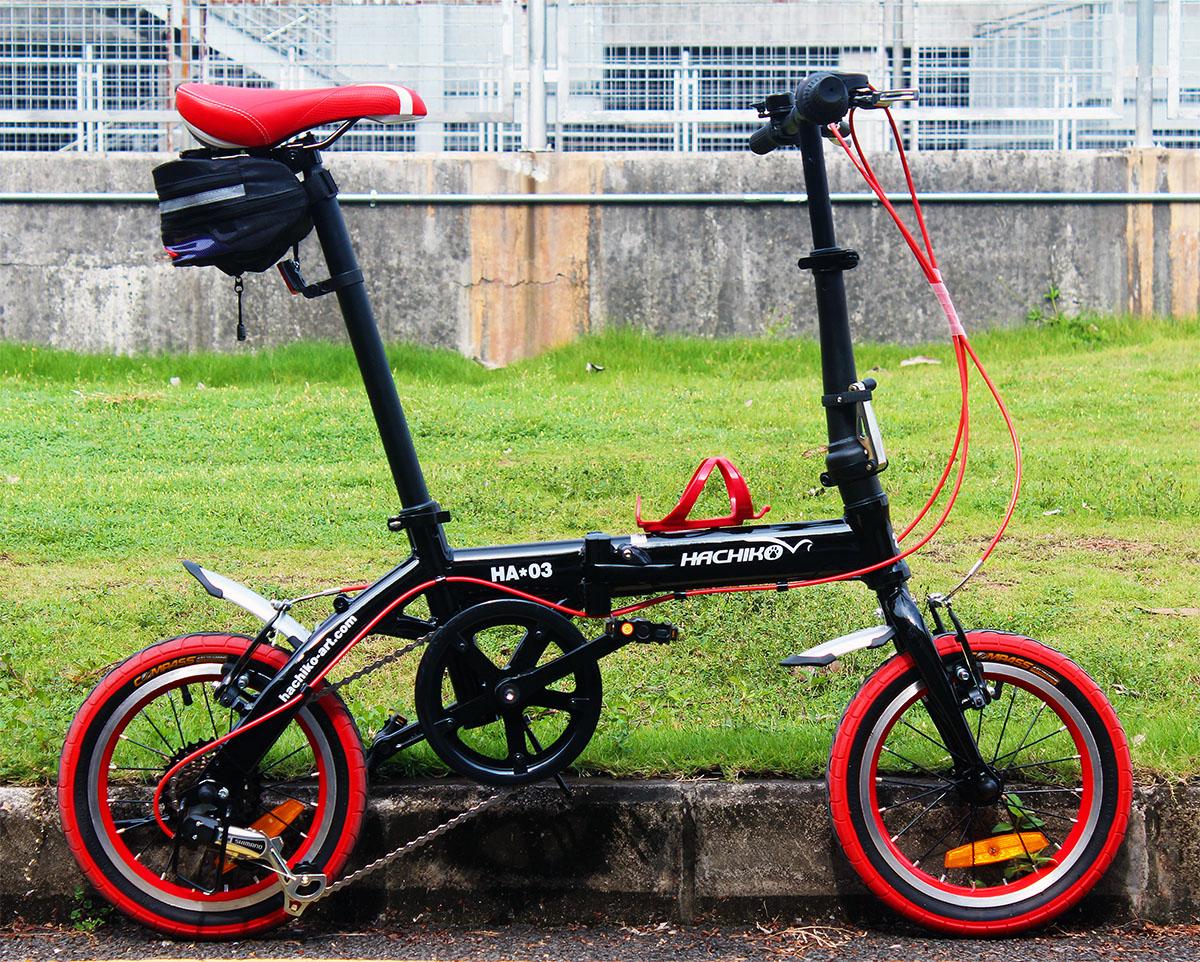 送料税込み!ハチコHACHIKOジュラルミン折りたたみ自転車SHIMANOシマノ6段変速14インチ[98%完成品]泥よけ付きプレゼントがあり! 黒(HA03_Black)