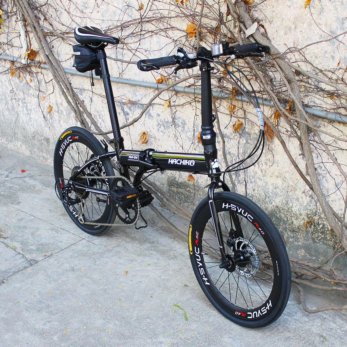 送料税込み!ハチコ HACHIKO 20インチ 三層ジュラルミン高級折りたたみ変速自転車 SHIMANOシマノ 7段 変速[98%完成品]フェンダー付きプレゼントがあり! 黒(HA04_Black)