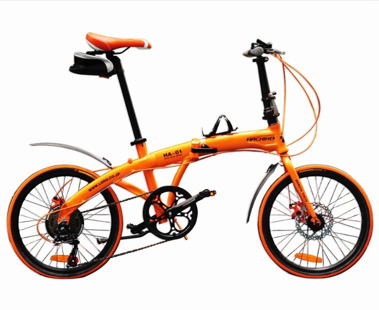 ハチコ HACHIKO 20インチ ジュラルミン 折り畳み自転車 SHIMANOシマノ7段 変速[98%完成品] 泥よけ付きプレゼントがあり!オレンジ(HA01_Orange)