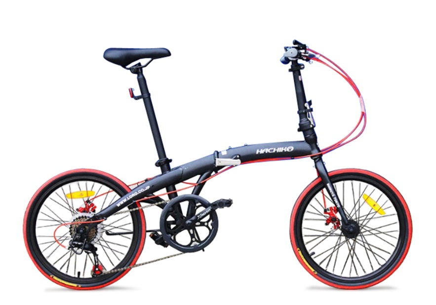 ハチコHACHIKO高炭素鋼折り畳み自転車SHIMANOシマノ7段変速 20インチ[98%完成品] 黒(HA02_Black)