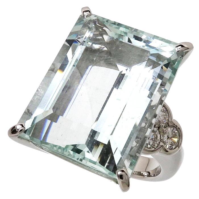 16号 アクアマリン 19.86ct ダイヤモンド 計0.65ct リング・指輪 Pt900プラチナ 20.4g レディース【中古】【真子質店】【IIxx】