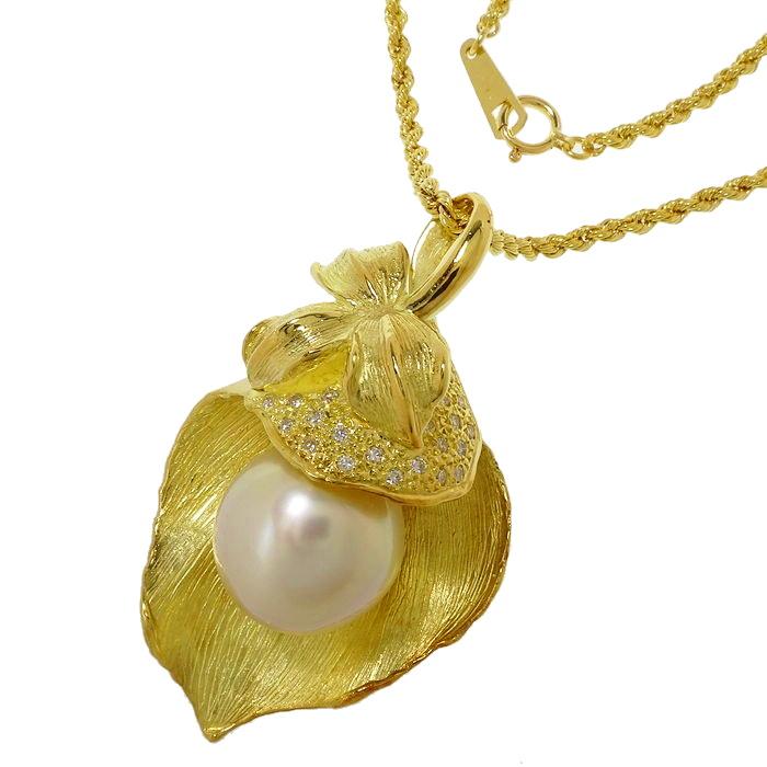 植物モチーフ ブローチ兼用 南洋真珠 13.4mm ダイヤモンド 計0.16ct ネックレス K18ゴールド 18金 23.2g 50cm レディース【中古】【真子質店】【MiMoMi】