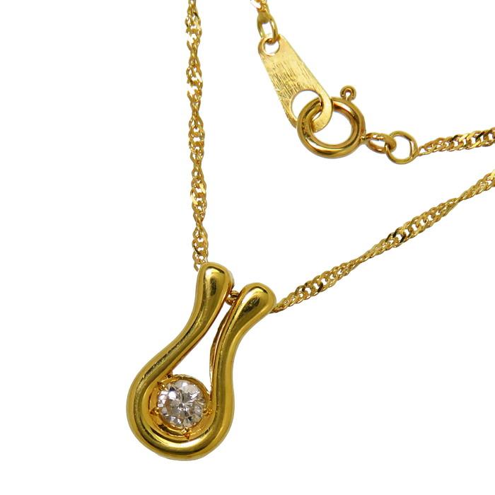 ダイヤモンド 0.10ct ネックレス K18ゴールド 18金 2.2g 40cm レディース【中古】【真子質店】【IIx】【pdpd】