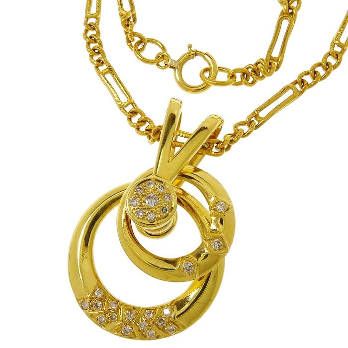 スイング ダイヤモンド 計0.22ct ネックレス K18ゴールド 18金 26.3g 52cm レディース【中古】【真子質店】【IIDD】【pdpd】