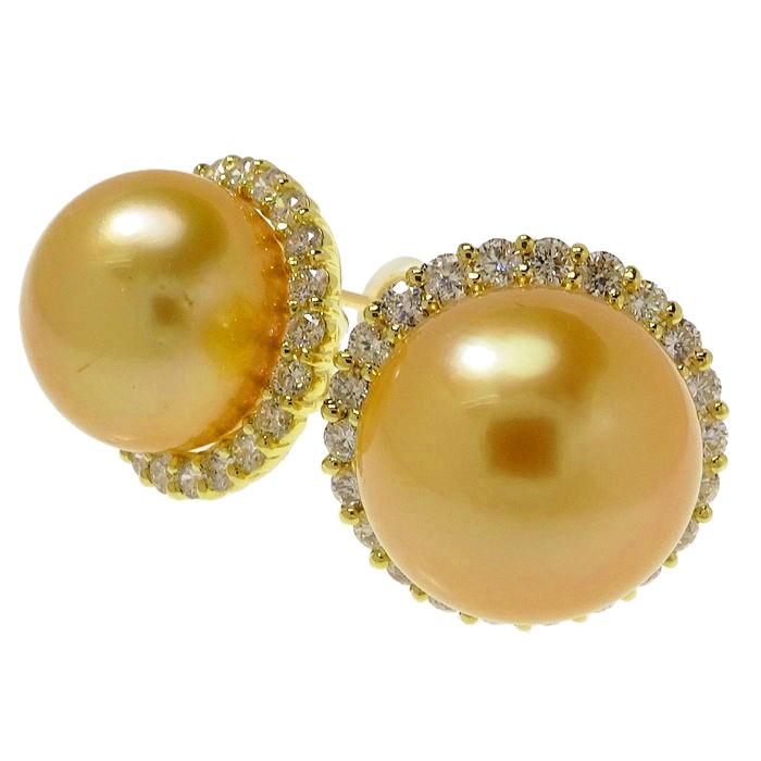 未使用 スタッド 南洋ゴールド真珠11.5mm ダイヤモンド 計0.45×2ct ピアス K18ゴールド 18金 7.8g レディース【中古】【真子質店】【YIY】【pdpd】